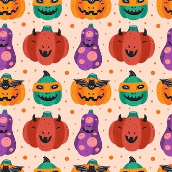 Griezelige pompoenen. happy halloween naadloze patroon