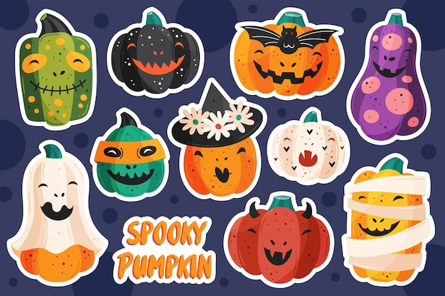 Griezelige pompoenen in verschillende stijlen. halloween stickers
