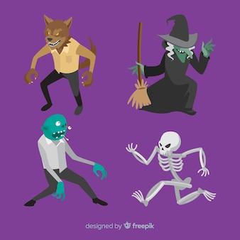Griezelige reeks halloween-karakters met vlak ontwerp