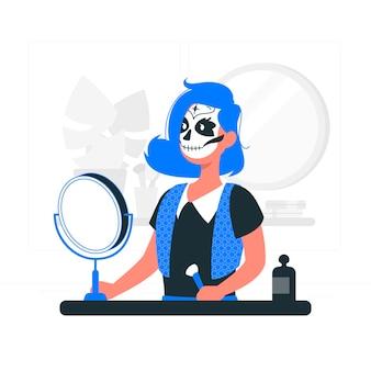Griezelige zelfmake-up concept illustratie