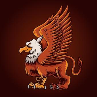 Griffin illustratie op rood
