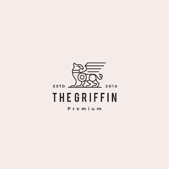 Griffioen logo retro vintage hipster label illustratie