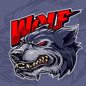 Grijns wolf mascotte
