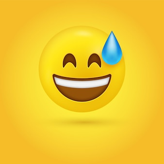 Grijnzend lachend gezicht met zweetdruppel