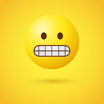 Grijnzende emoji-gezicht met gebalde tanden