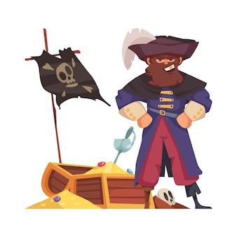 Grijnzende piratenkapitein met cartoon schatkist