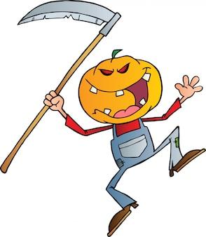 Grijnzende scarecrow reaper met scythe