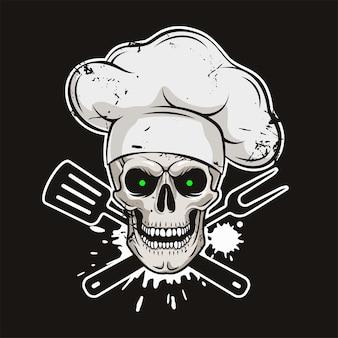 Grijnzende schedel in koksmuts met gekruiste barbecuegereedschappen