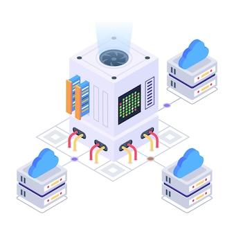 Grijp dit creatieve isometrische pictogram van een cloud computing-netwerk