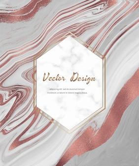 Grijs met roze gouden folie ontwerpkaart met vloeibare inkt met geometrisch wit marmeren frame.