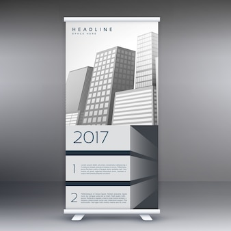 Grijs standee roll up banner template design concept voor de marketing en promotie