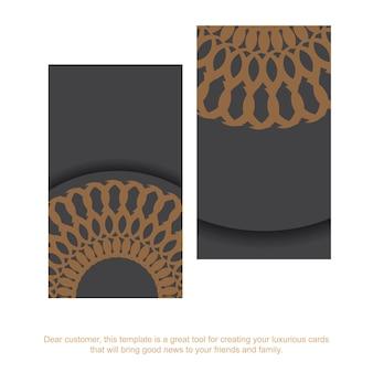 Grijs visitekaartje met grieks ornament. drukklaar visitekaartjeontwerp met ruimte voor uw tekst en vintage patronen.