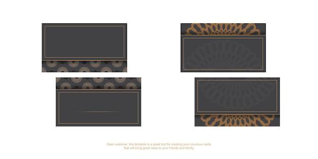 Grijs visitekaartjeontwerp met grieks ornament. vector visitekaartjes met plaats voor uw tekst en vintage patronen.