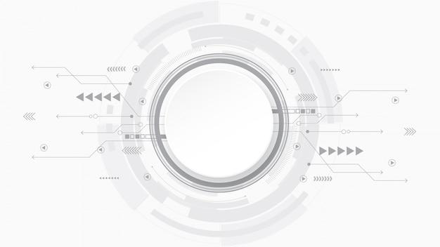 Grijs wit abstracte technische achtergrond, hi-tech digitale verbinding, communicatie, geavanceerd technisch concept, wetenschap, technische achtergrond