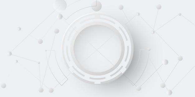 Grijs wit abstracte technische achtergrond met verschillende technologie-elementen hi-tech communicatie concept innovatie achtergrond cirkel lege ruimte voor uw tekst.