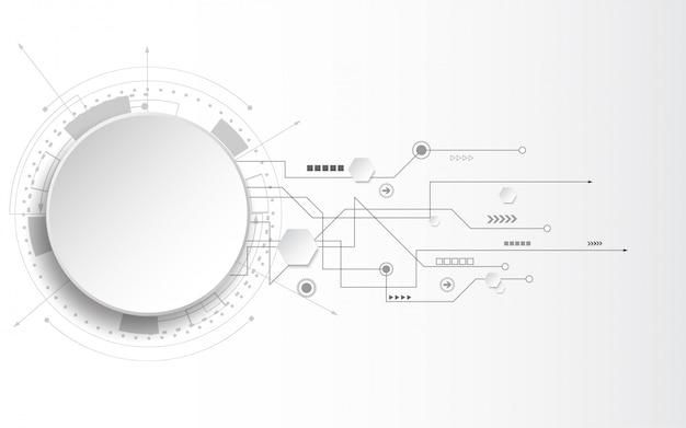 Grijs-witte abstracte technische achtergrond met verschillende technologische elementen