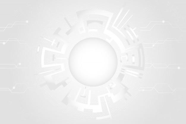 Grijs-witte abstracte technologie cirkels achtergrond