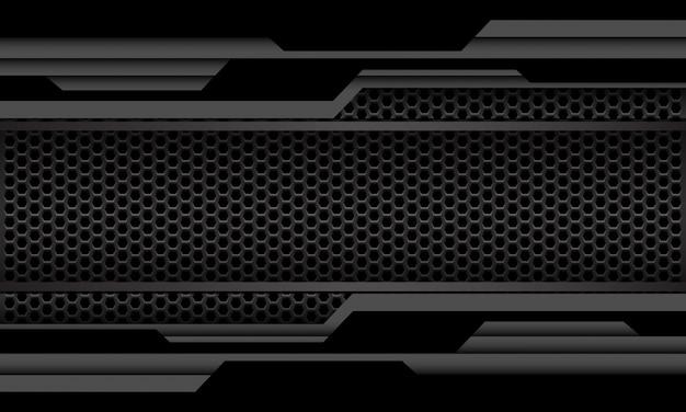 Grijs zwart geometrische circuit cyber zeshoek mesh luxe futuristische technologie als achtergrond.