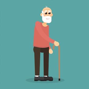 Grijsharige, bebaarde oude man met wandelstok. karakter.