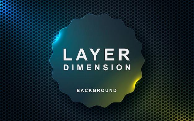 Grijze abstracte dimensie op donkere zeshoek achtergrond