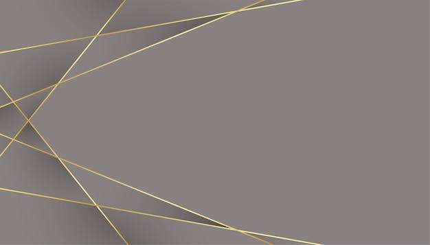 Grijze achtergrond met geometrische laag poly gouden lijnen