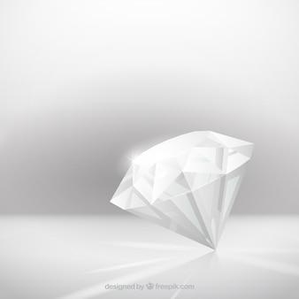 Grijze achtergrond met realistische diamant