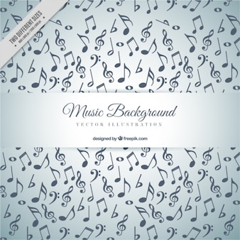 Grijze achtergrond met vol muzieknoten