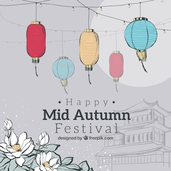 Grijze achtergrond, midden herfst festival