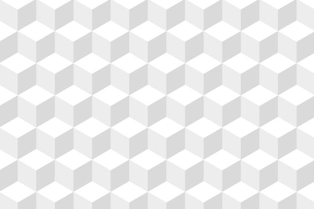 Grijze achtergrondvector in witte kubuspatronen