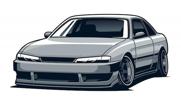 Grijze auto illustratie