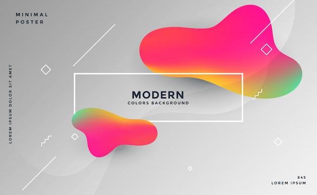 Grijze backgorund met abstracte 3d kleurrijke vloeibare vormen