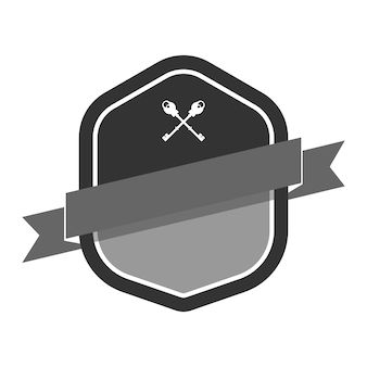Grijze badge verfraaid met een spandoek