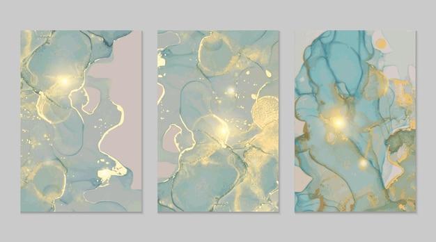 Grijze blauwe en gouden marmeren abstracte texturen