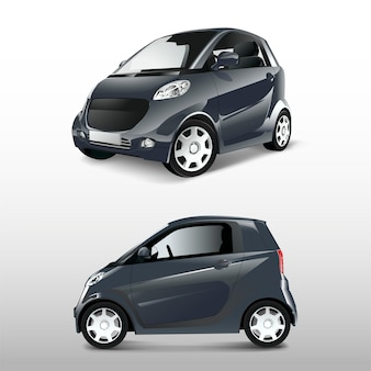 Grijze compacte hybride auto vector