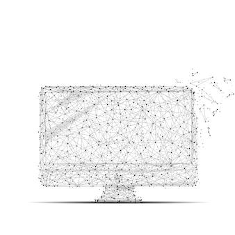 Grijze computer met veelhoeklijn op zwarte abstracte achtergrond veelhoekige ruimte laag poly met connect