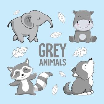 Grijze dieren cartoon olifant hippo racoon wolf
