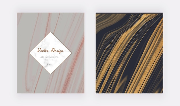 Grijze en zwarte vloeibare inkt met gouden glitterkaart.