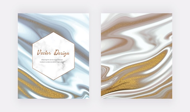 Grijze en zwarte vloeibare inkt met gouden glittertextuur.