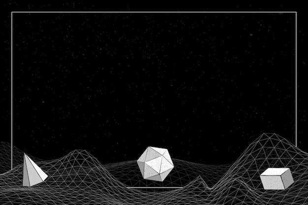 Grijze geometrische vormen op een draadframe-golfachtergrond