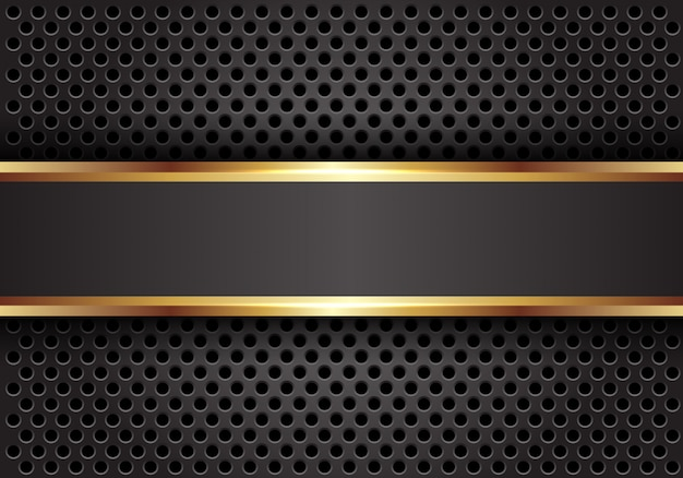 Grijze gouden lijnbanner op de donkere achtergrond van het cirkelnetwerk.