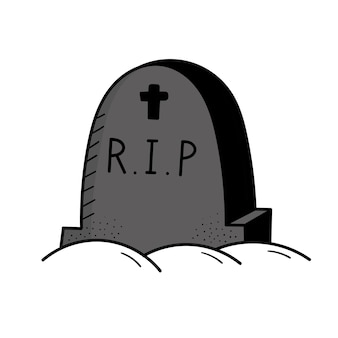 Grijze grafsteen, begraafplaats. mysticus. halloween. doodle stijl illustratie