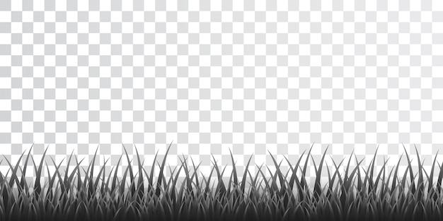 Grijze grasrand ingesteld op transparante achtergrond