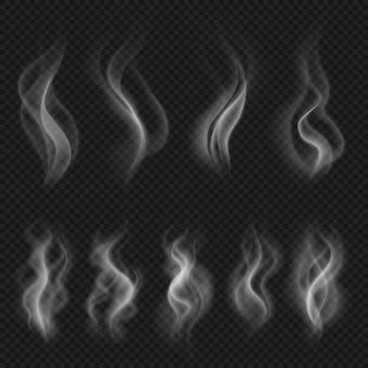 Grijze hete rookwolken. witte transparante stoomverdamping geïsoleerde vectoreffecten. vector motion steam mist, stroom rook effect illustratie