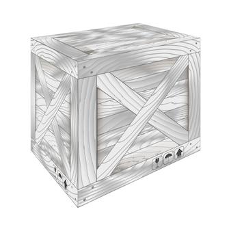 Grijze houten kist
