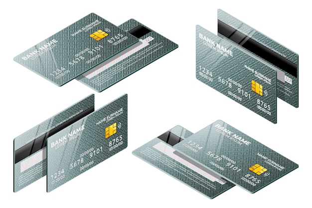 Grijze isometrische creditcardverzameling