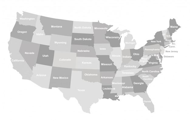 Grijze kaart van de vs met staten.