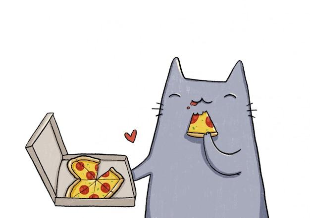 Grijze kat die pizza eet