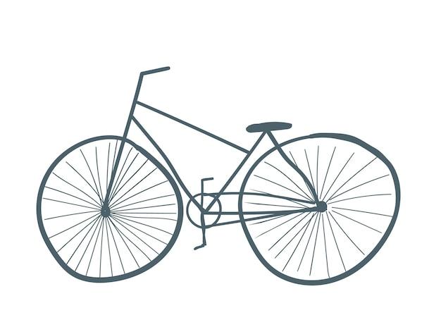 Grijze kleur fiets geïsoleerd vervoer hand getekende cartoon stijl vectorillustratie
