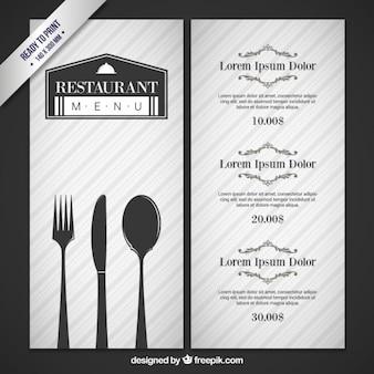 Grijze menu van het restaurant met bestek