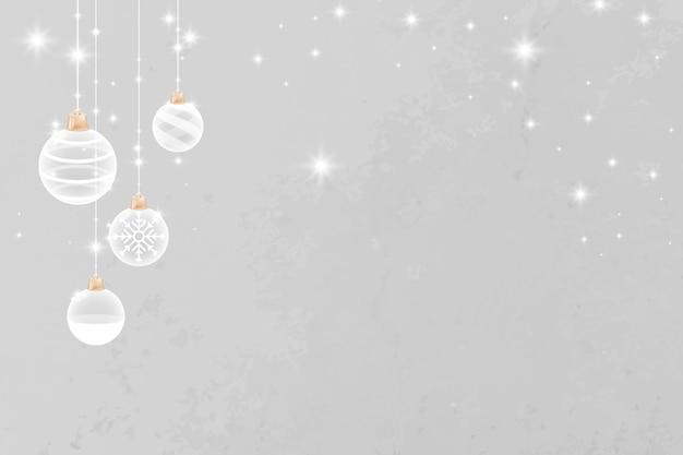 Grijze merry christmas sparkly bauble feestelijke achtergrond